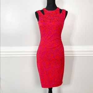 Cache Red Bodycon Ruched Holiday Knee Length Dress